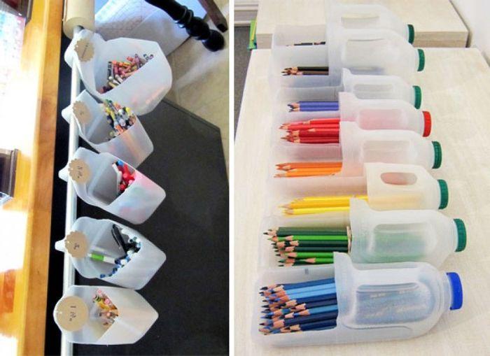 Оригинальная подставка для карандашей и ручек из пластиковой бутылки.