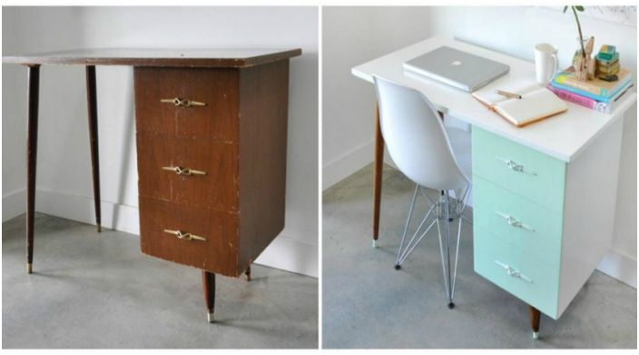 Старо бюро с чекмеджета може да бъде превърнато в модерно работно пространство.