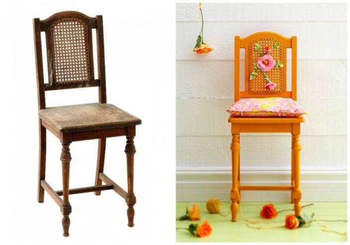 Обръснатият стол пое нов живот със своя жизнен цвят.