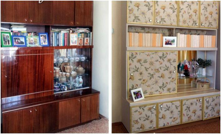 Старата гардеробна баба е превърната в модерен и функционален гардероб благодарение на меката тапицерия от плат.