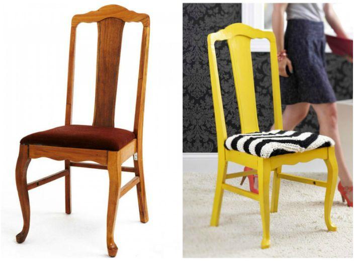 Обикновеният стол е превърнат в дизайнерски шедьовър благодарение на живия си цвят и новата тапицерия.