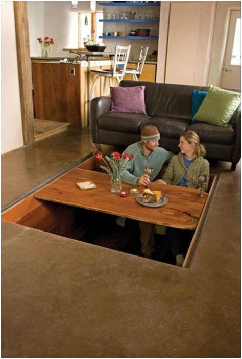 Трапезна маса, скрита в пода.