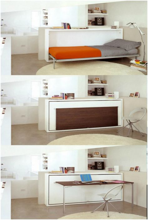 Плот за маса, който може да функционира като легло или бюро.