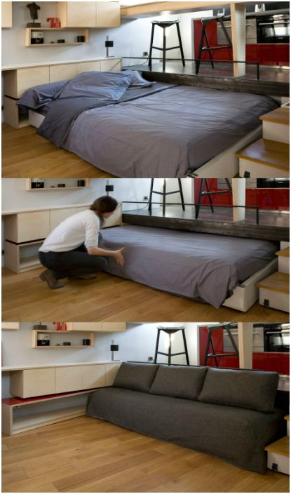 Диван, който се превръща в голямо двойно легло и се скрива в ниша под пода.