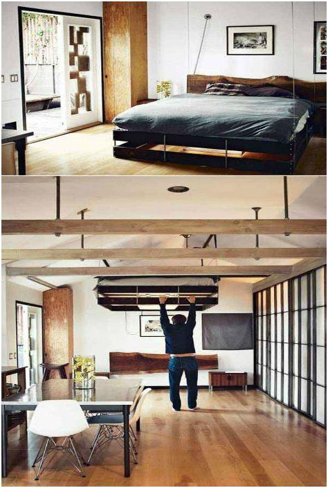 Легло, което може да се повдигне до тавана.