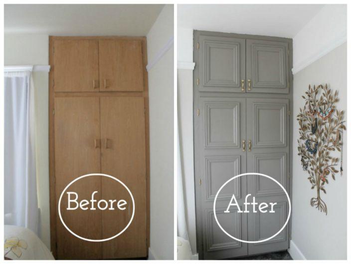 Можете да освежите старите мебели с обикновени бои и декоративни корнизи.