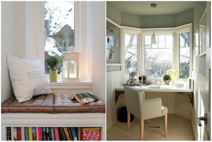 Един обикновен перваза на прозореца може да се използва като маса или уютен диван.