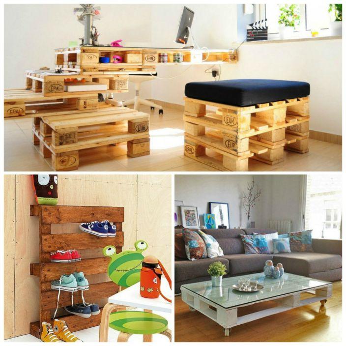 Много оригинални мебели могат да бъдат направени от дървени палети (палети).