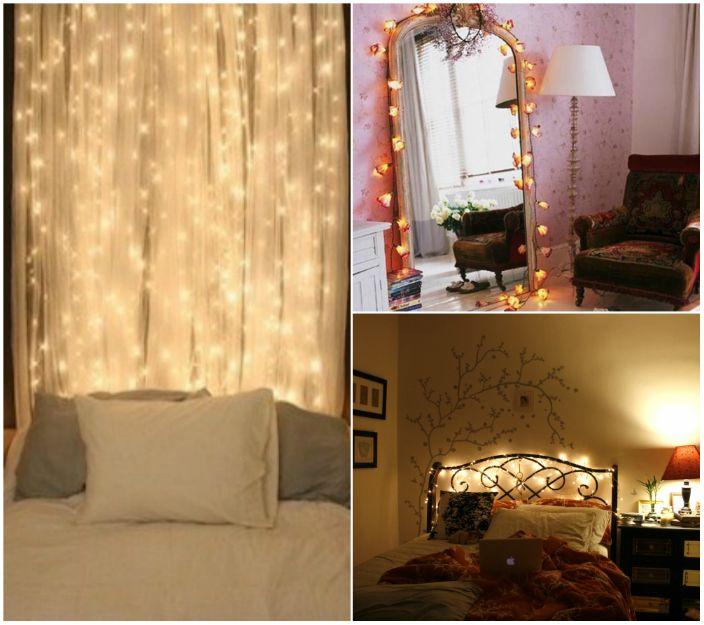 LED светлините могат да се използват за украса на огледала, завеси, табла и дори стени. Този декор изглежда много впечатляващ.