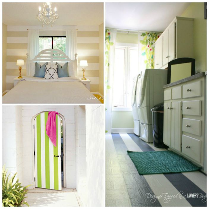 За да освежите интериора, не е необходимо да сменяте подовото или стенното покритие, достатъчно е само да украсите остарялата настилка с цветни широки ивици.