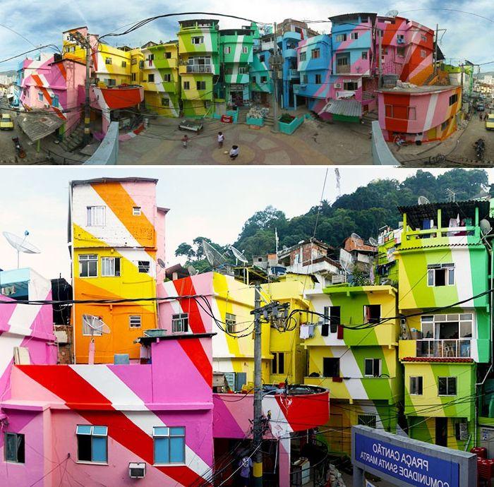 Malte hus i lyse farger.