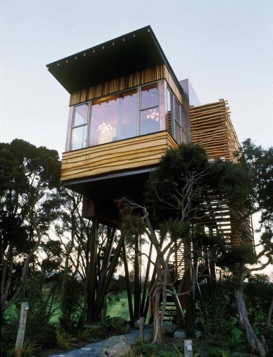 Домик на курорте Хапуку Лодж в Новой Зеландии.