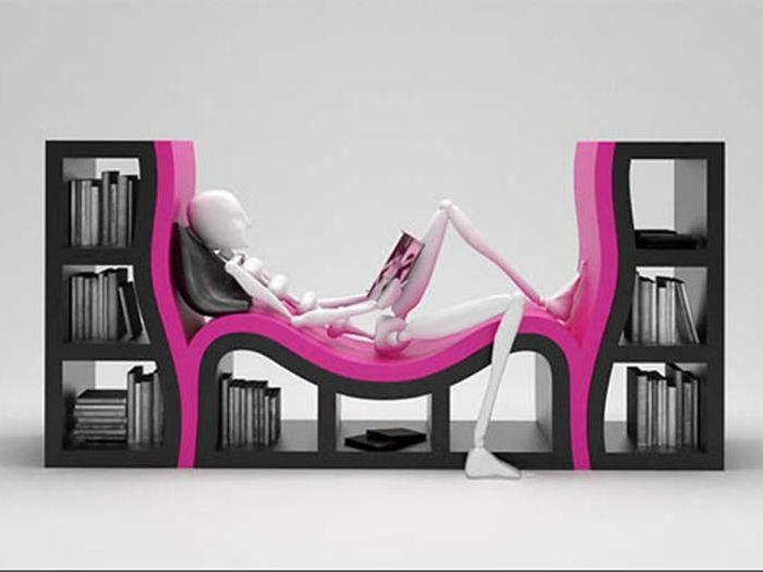 Етажерка с място за почивка и четене, което значително ще спести място в стаята.