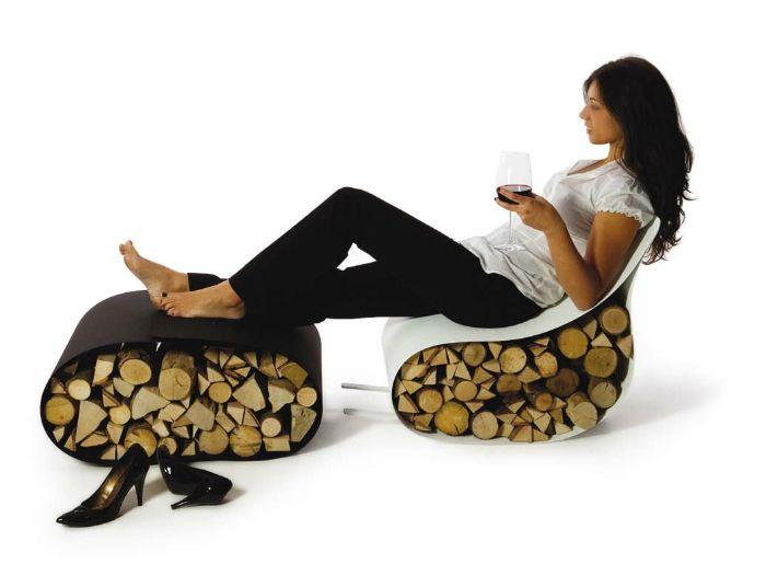 Ортопедичен еко стол, изработен от плат и дърво.