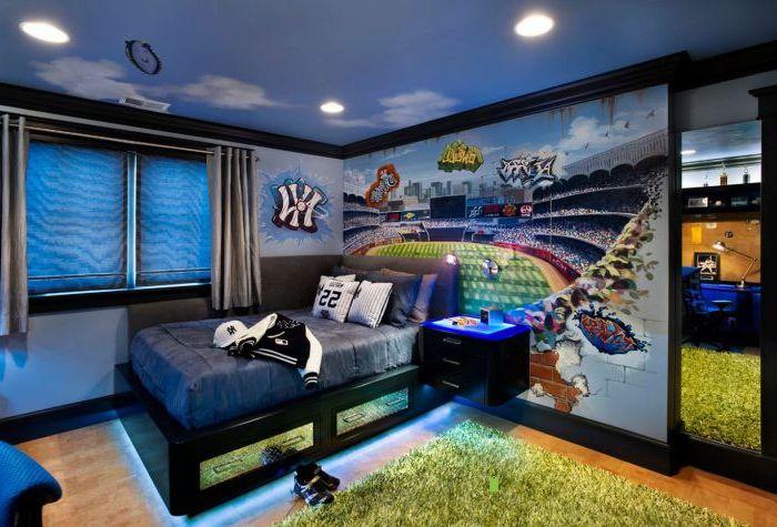 Смелые цвета в оформлении стен детской спальни.