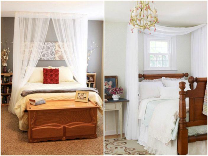 Możesz zrobić urocze zasłony z lekkiej, lekkiej tkaniny, które dodadzą sypialni odrobiny romantyzmu.
