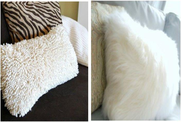 Udekoruj swoje poduszki poduszkami wykonanymi z przytulnych pluszowych materiałów.