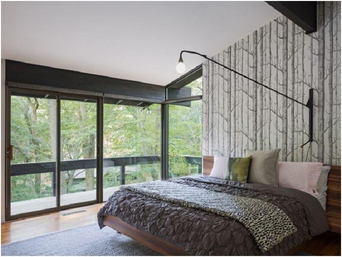 Строгий и в тоже время очаровательный дизайн спальни в серых оттенках.