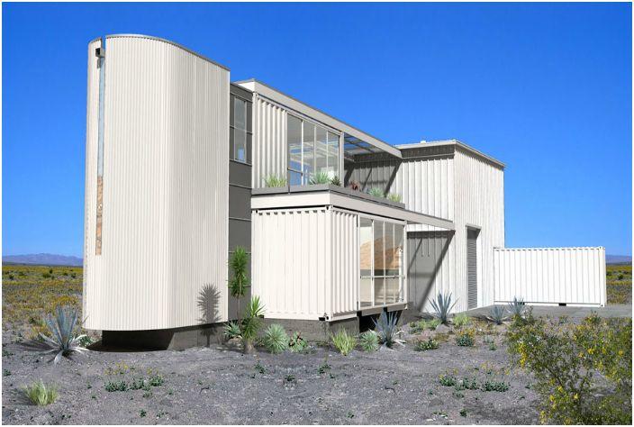 Жилой дом с уникальным дизайном, построенный из 6 контейнеров.