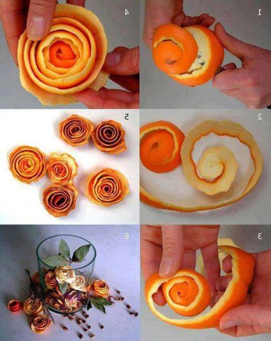 Изсушена портокалова кора като оригинален предмет за декорация.