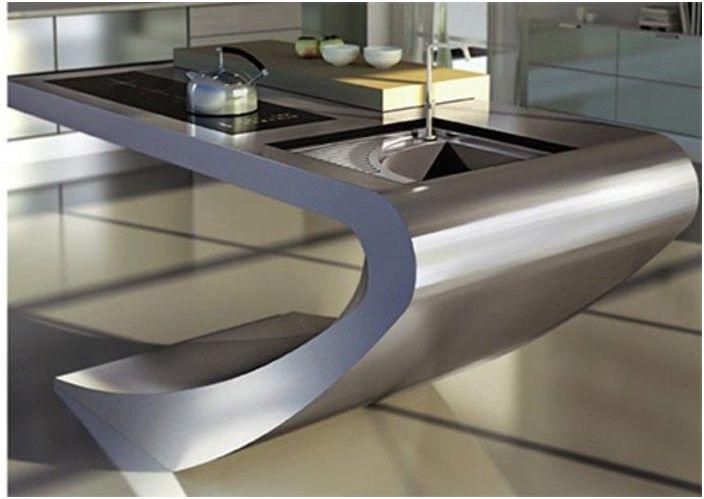 Функциональная раковина в стиле хай-тек, совмещенная с плитой и рабочей поверхностью.