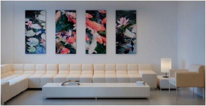 Много привлекателно цветно платно за допълване на бялата стая.