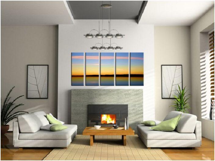 Добавяне на необичайни цветове със снимка на залез към уютен интериор на стаята.