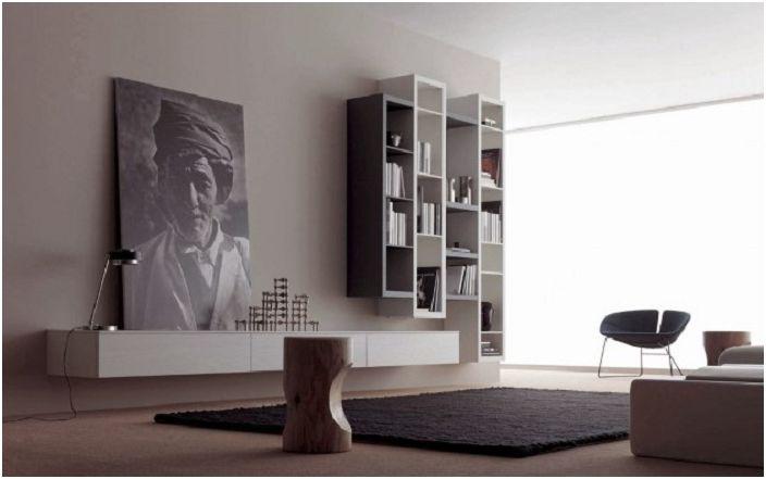 Черно-бели интериорни елементи, съчетани с красива картина.