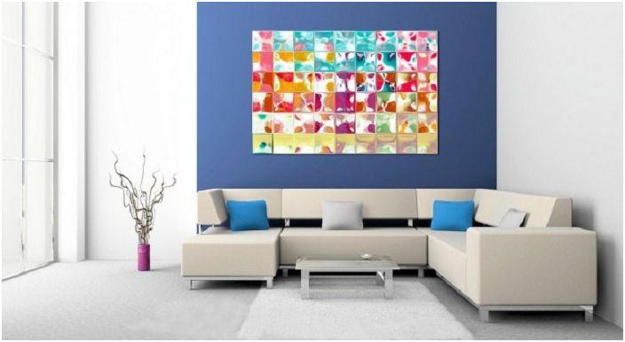 Ярките цветове в дизайна на стаята, в допълнение към необичайна картина, са ключът към доброто настроение.