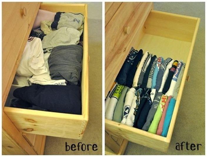 Układaj przedmioty pionowo, aby na zawsze wyeliminować bałagan w szafie.