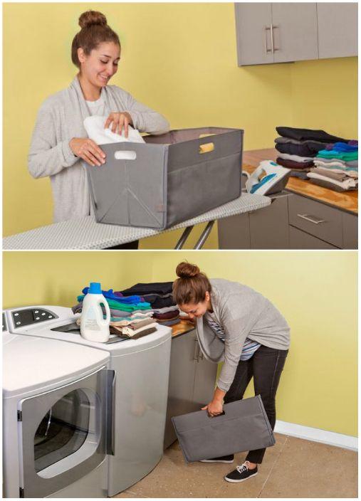 Компактна кошница за пране, която може да бъде сгъната и скрита във всеки слот, ако е необходимо.