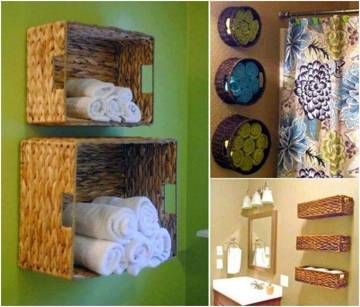 Хавлиените кърпи могат да се съхраняват в плетени кошници, прикрепени към стената.