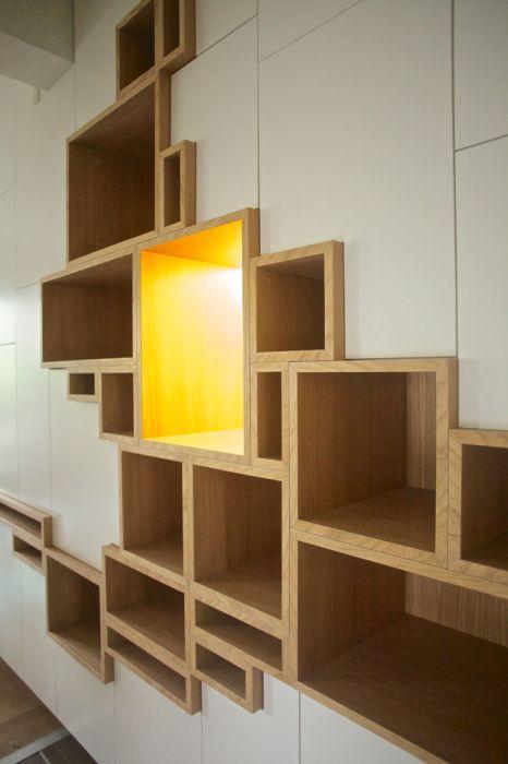 Wbudowane półki, które będą wyglądać ekologicznie w każdym wnętrzu.