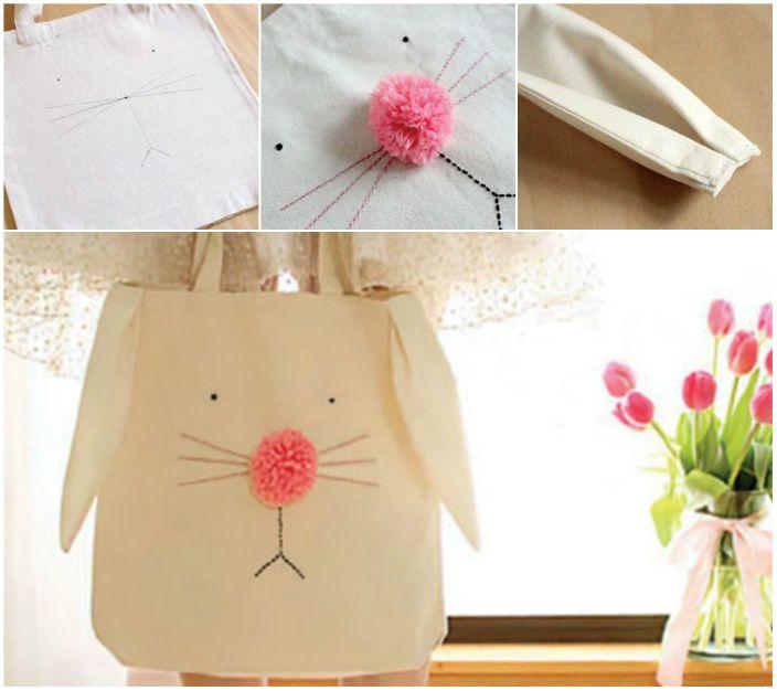Голяма чанта `` Bunny '', която можете да шиете сами.