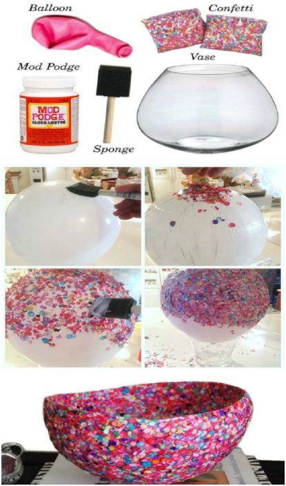 Необичайна ваза за плодове или сладкиши, която можете да направите сами, използвайки обикновен балон, лепило и конфети.