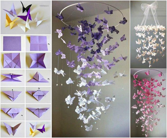 Този невероятен висулка със сгънати хартиени пеперуди ще бъде чудесна декорация за всяка стая.