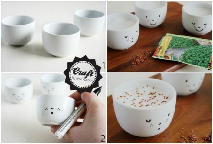Вашата собствена градина в малка чаша за кафе с боядисано лице.