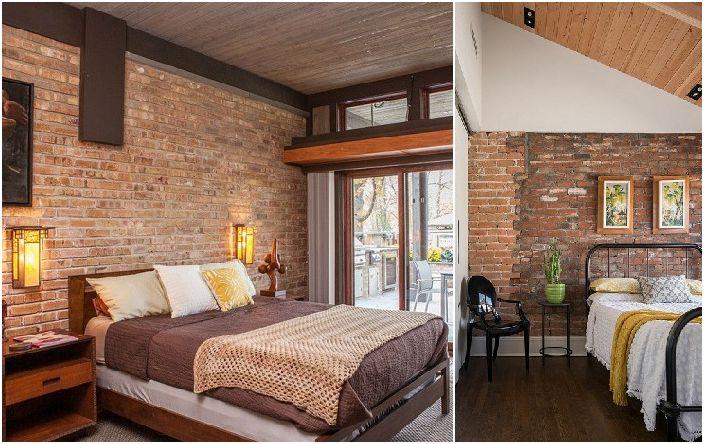 Интериор на спалнята с тухлена зидария.