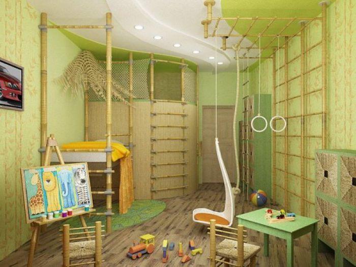 Детская комната, стилизованная под мир джунглей.