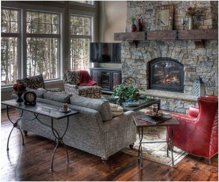 Прекрасна всекидневна с вградена камина в сиви и червени тонове.