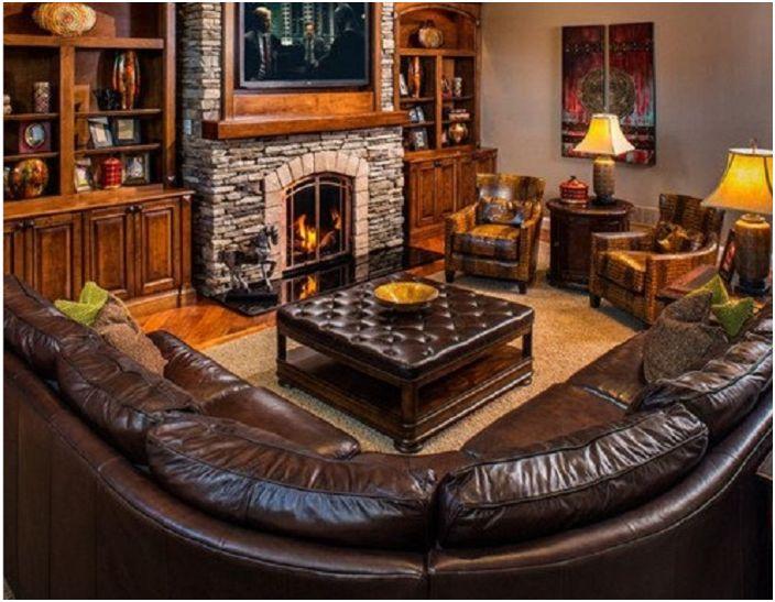 Кожени мебели в класическа комбинация.