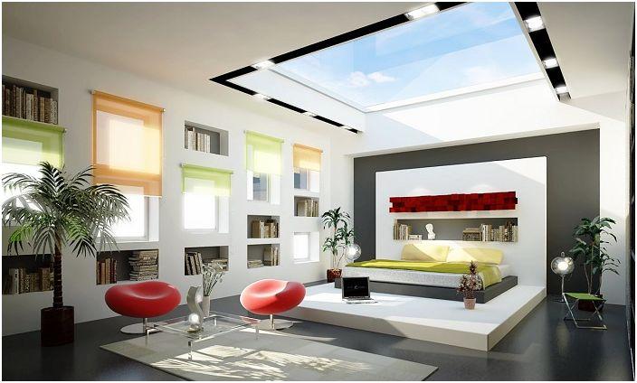Ciekawe zestawienie kolorystyczne i specyficzne elementy wnętrza pozwala ogólnie docenić piękno pomieszczenia ze świetlikami.