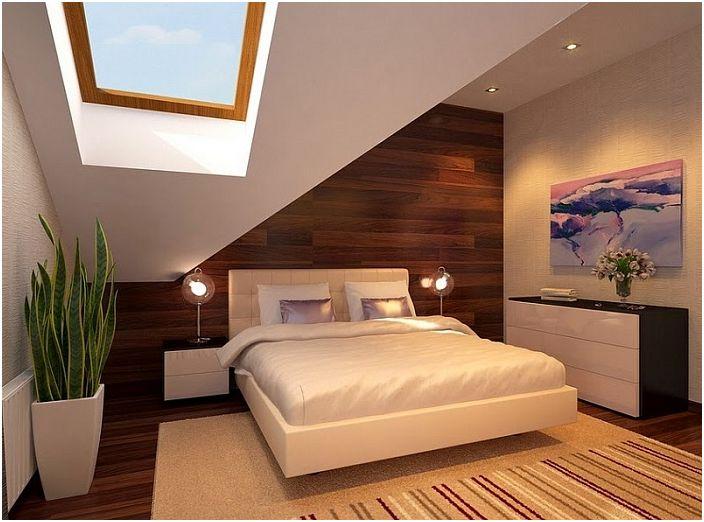 Комбинацията от светли нюанси с дърво в интериора на стаята ще му придаде особен чар, плюс отличен капандурен прозорец ще добави оригиналност.