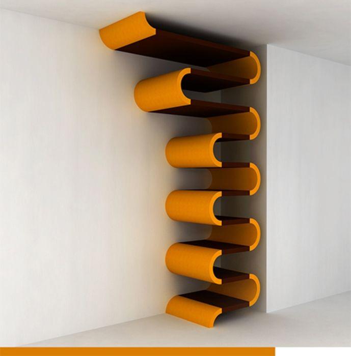 Черен дървен рафт с оранжеви гумени фитинги.