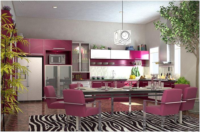 Комбинацията от цвета на узряло грозде с черно и бяло насища кухнята с необичайно настроение и прави възможно развихрянето на фантазия.
