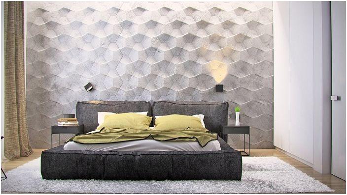 Хубава текстурирана декорация на стени в спалнята.