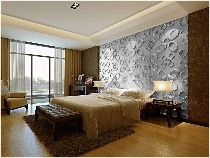 Текстурирана стена, която създава приятна атмосфера в спалнята.
