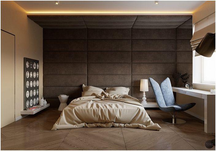 Невероятна деликатна спалня в кремави шоколадови тонове с очарователна текстурирана стена.