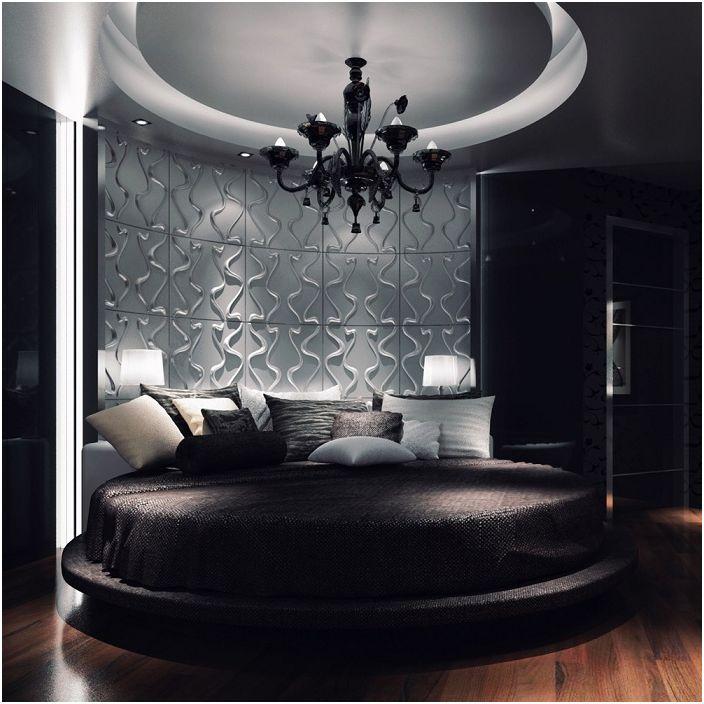 Спалнята е декорирана в тъмни цветове с шарена стена.