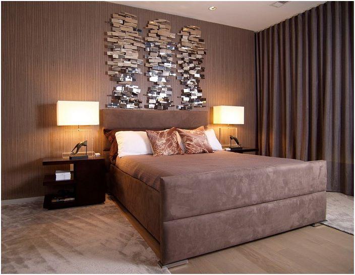 Прекрасный интерьер комнаты в шоколадном цвете украшают обои в тон, которые отлично подчеркивают все достоинства комнаты.